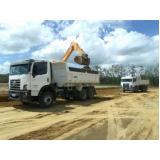 caminhão de areia lavada no Horto Santo Antonio
